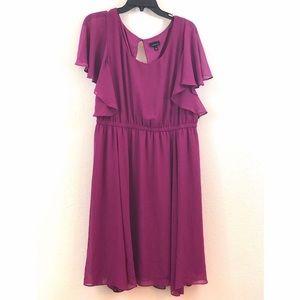 NWOT TORRID magenta flutter sleeve midi dress